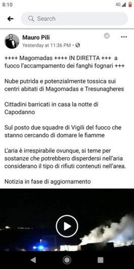 Il post di Pili sull'incendio di Magomadas