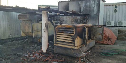 Una parte dei macchinari distrutti dalle fiamme