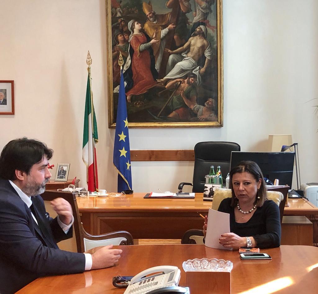 Il presidente della Regione Solinas con il ministro dei trasporti Solinas