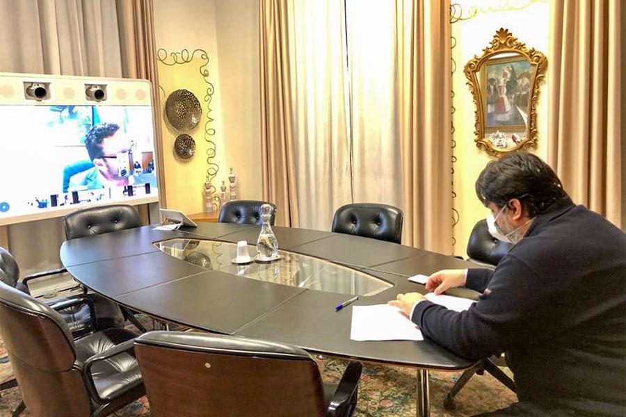 ìIl presidente Solinas in teleconferenza con la Giunta