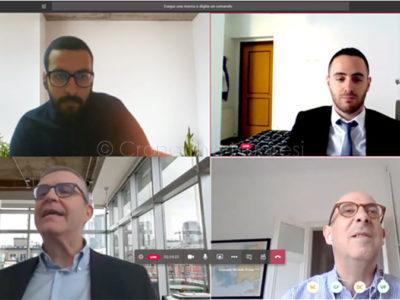 In alto i neo dottori Marco Guria e Hicham Lafhouli e, in basso i professori Riccardo Scateni e Michele Pinna