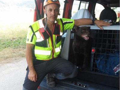 Le unità dei Vigili del fuoco che hanno rinvenuto l'uomo scomparso a Jerzu