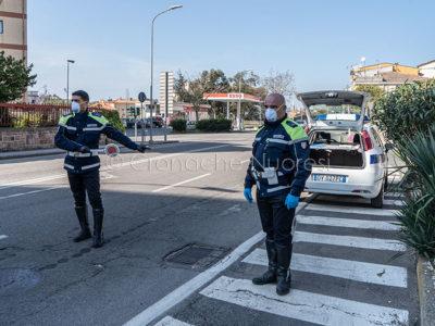 Un posto di blocco della Polizia Municipale (foto S.Novellu)