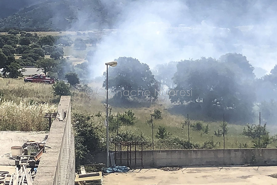 L'incendio nella zona industriale di Prato Sardo