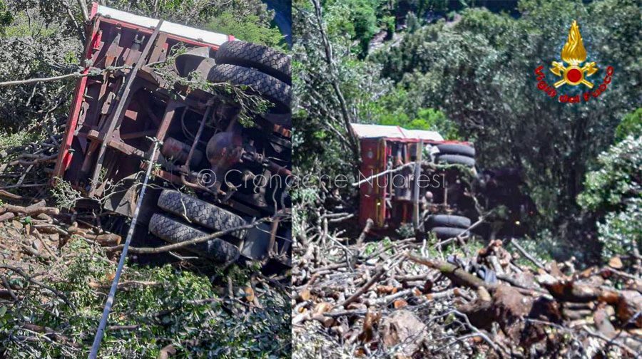 due immagini del camion dopo l'incidente