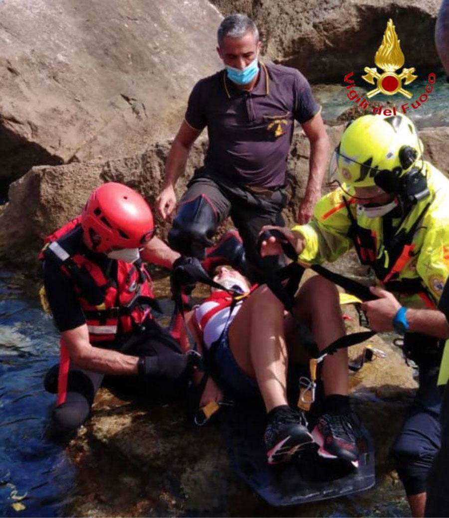 L'intervento di soccorso della turista a Baunei