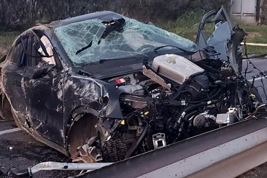 La Porsche dopo l'incidente