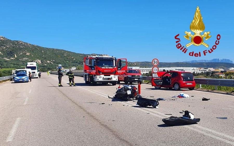 Scontro auto moto alle porte di Olbia: gravi i due conducenti
