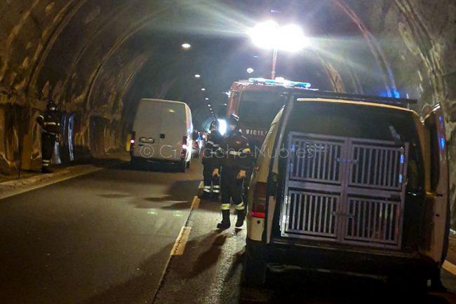 Una delle auto coinvolte nell'incidente alla galleria di Prato Sardo