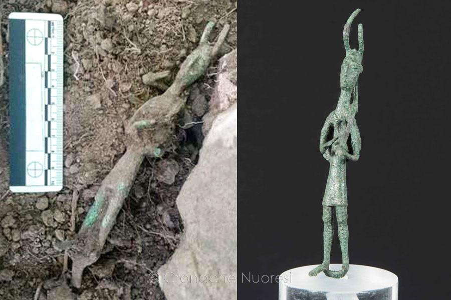 Raro bronzetto di guerriero scoperto nel complesso archeologico di Cuccuru Mudeju