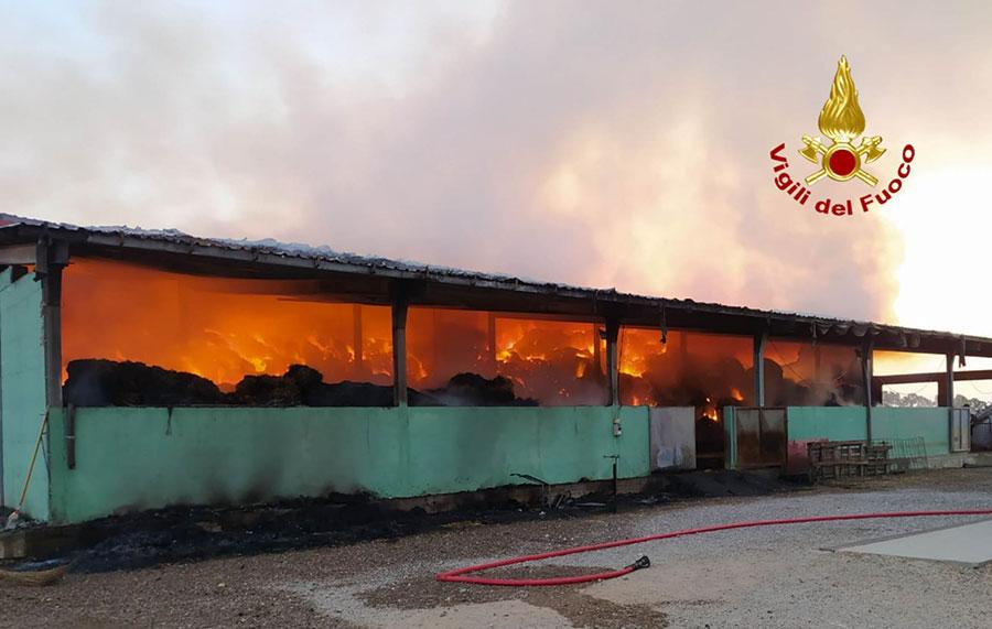 Due fienili a fuoco nella notte: raccolto di fieno in cenere – VIDEO