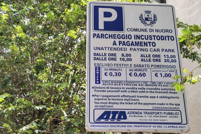 Nuoro, tariffe dei parcheggi in via Lamarmora (foto S.Novellu)