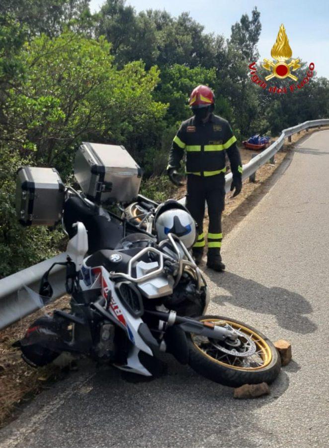 La moto dopo lo schianto